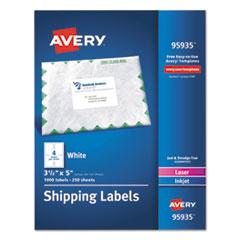 Avery® White Shipping Labels, Inkjet/Laser, 3 1/2 x 5, White, 1000/Box AVE95935