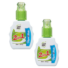 2-in-1 Correction Combo, 22 ml Bottle, White, 2/Pack