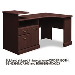 Bush® Expandable Corner Desk Solution (B/F/D) Box 1 of 2 Syndicate, 74w x 39.88d x 36.88h, Mocha Cherry