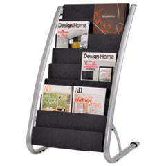 Alba™ Literature Floor Rack, 16 Pocket, 23w x 19.67d x 36.67h, Silver Gray/Black