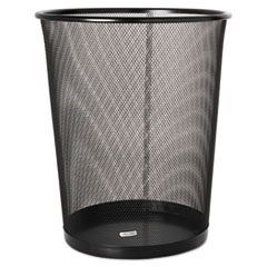 Rolodex™ Steel Round Mesh Trash Can, 4.5 gal, Black