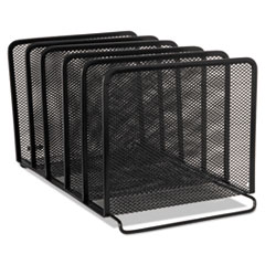 "Mesh Stacking Sorter, 5 Sections, Letter to Legal Size Files, 8.25"" x 14.38"" x 7.88"", Black"