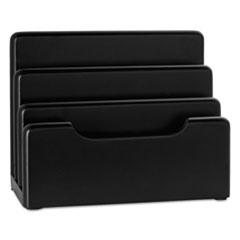 "Rolodex™ Wood Tones Desktop Sorter, 3 Sections, Letter to Legal Size Files, 7.13"" x 4"" x 5.5"", Black"
