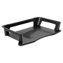 """Rubbermaid® Regeneration Recycled Plastic Letter Tray, 1 Section, Letter Size Files, 9.13"""" x 15.25"""" x 2.75"""", Black"""