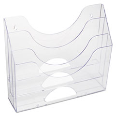 """Rubbermaid® Optimizers Multifunctional Three-Pocket File Folder Organizer, 3 Sections, Letter Size Files, 13"""" x 3.5"""" x 11.5"""", Clear"""