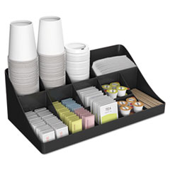 Mind Reader 11-Compartment Coffee Condiment Organizer, 18 1/4 x 6 5/8 x 9 7/8, Black EMSCOMORGBLK