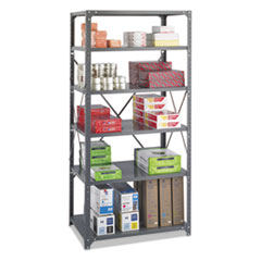 Commercial Steel Shelving Unit, Six-Shelf, 36w x 24d x 75h, Dark Gray