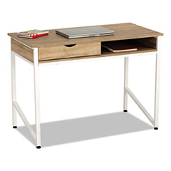 Safco® Single Drawer Office Desk, 43 1/4 x 21 5/8 x 30 3/4, Beech/White SAF1950WH