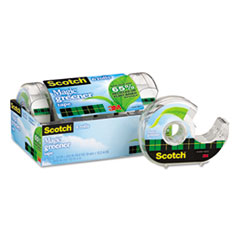 "Scotch® Magic Greener Tape with Dispenser, 1"" Core, 0.75"" x 50 ft, Clear, 6/Pack"