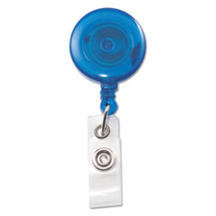 "Translucent Retractable ID Card Reel, 34"" Extension, Blue, 12/Pack"