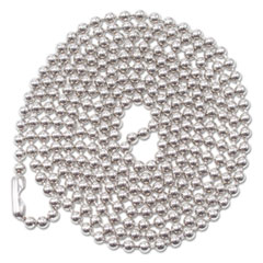 "Advantus ID Badge Holder Chain, Ball Chain Style, 36"" Long, Nickel Plated, 100/Box"