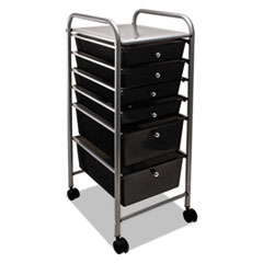 Portable Drawer Organizer, 13w x 15.38d x 32.13h, Smoke/Matte Gray
