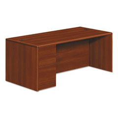 HON® 10700 Series Single Pedestal Desk, Full Left Pedestal, 72 x 36 x 29 1/2, Cognac HON10788LCO