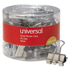 Universal® Binder Clips in Dispenser Tub, Small, Silver, 40/Pack