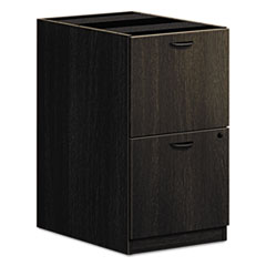 Basyx by HON BL Laminate Two Drawer Pedestal File, 15 5/8w x 21 3/4d x 27 3/4h, Espresso BSXBL2163ESES