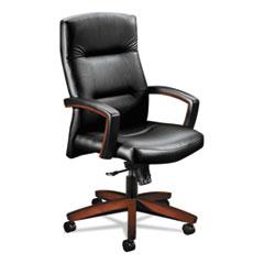 HON® 5000 Series Executive High-Back Swivel/Tilt Chair, Black Vinyl/Cognac HON5001COEE11