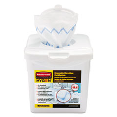 Rubbermaid® Commercial HYGEN™ Disposable Microfiber Cloth Starter Kit, White/Blue, 160 Cloths w/Charging Tub