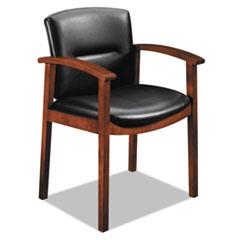 HON® 5000 Series Park Avenue Collection Guest Chair, Black Vinyl/Cognac HON5003COEE11