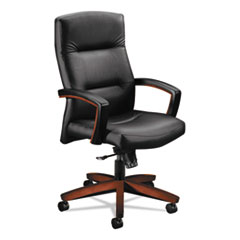 HON® 5000 Series Executive High-Back Swivel/Tilt Chair, Black Leather/Cognac HON5001COSS11