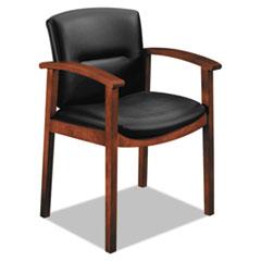 HON® 5000 Series Park Avenue Collection Guest Chair, Black Leather/Cognac HON5003COSS11