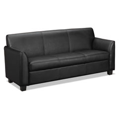 Basyx by HON VL870 Series Leather Reception Three-Cushion Sofa, 73w x 28 3/4d x 32h, Black BSXVL873SB11