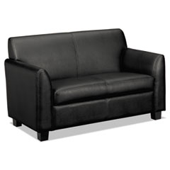 HON® Circulate Leather Reception Two-Cushion Loveseat, 53.5w x 28.75d x 32h, Black