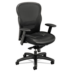 Basyx by HON VL701 Series High-Back Swivel/Tilt Work Chair, Black Mesh/Leather BSXVL701SB11