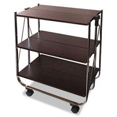 Vertiflex® Click-N-Fold Utility Cart, 26.5w x 15.75d x 31.5h, Chrome/Brown
