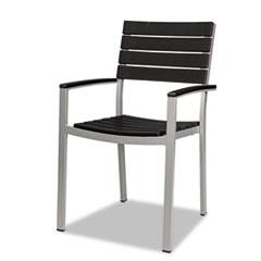 Nomad by Palmer Hamilton Tiki Stacking Arm Chair, 20w x 23d x 35h, Black/Silver, 2/Carton PHLTK201B