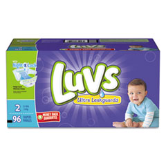 Diapers w/Leakguard, Size 2: 12 to 18 lbs, 96/Carton