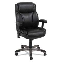 Alera® Alera Veon Series Leather Mid-Back Manager's Chair, Supports up to 275 lbs., Black Seat/Black Back, Graphite Base