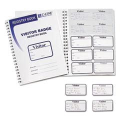Visitor Badges with Registry Log, 3 1/2 x 2, White, 150 Badges/Box