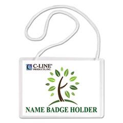 C-Line® Specialty Name Badge Holder Kits, 4 x 3, Horizontal Orientation, White, 50/Box