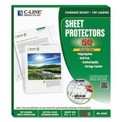 "C-Line® Sheet Protectors, Heavy, Clear, Polypropylene, 2"", 11 x 8 1/2, 50/BX"