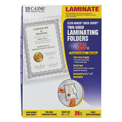 "Quick Cover Laminating Pockets, 12 mil, 9 1/8"" x 11 1/2"", 25/Pack"