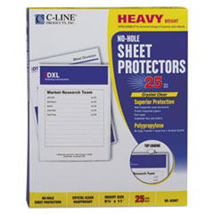 "C-Line® Top-Load No-Hole Polypropylene Sheet Protector, Heavyweight, Clear, 2"", 25/Box"