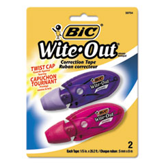 """BIC® Wite-Out Mini Twist Correction Tape, Non-Refillable, 1/5"""" x 314"""", 2/Pack"""