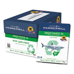 Hammermill® Great White 50 Recycled Copy Paper, 20-lb., 8-1/2 x 11, White, 5000/Carton