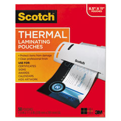 "Scotch™ Laminating Pouches, 3 mil, 9"" x 11.5"", Gloss Clear, 50/Pack"