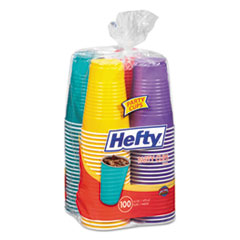 Hefty® Easy Grip Disposable Plastic Party Cups, 16 oz, Assorted, 100/Pack, 4Pk/Carton
