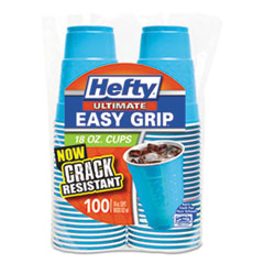 Hefty® Easy Grip Disposable Plastic Party Cups, 18 oz, Blue, 100/Pack, 4 Pack/Carton