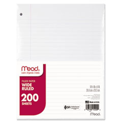 Mead® Filler Paper, 15lb, Wide Rule, 3 Hole, 10 1/2 x 8, 200 Sheets