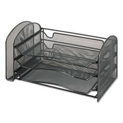 Mesh Desk Organizer, 1 Vertical/3 Horizontal Sections, 16 1/4 x 9 x 8, Black