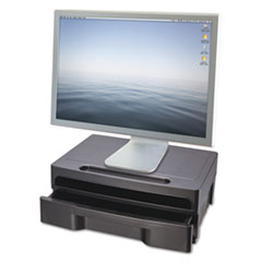 """Officemate Monitor Stand with Drawer, 13.13"""" x 9.88"""" x 5"""", Black, Supports 40 lbs"""