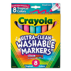 Washable Markers, Conical Point, Tropical Colors, 8/set