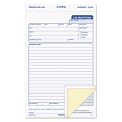 """Snap-Off Job Work Order Form, 5 2/3"""" x 8 5/8"""", Three-Part Carbonless, 50 Forms"""