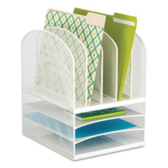 Onyx Mesh Desk Organizer, Eight Sections, 11 1/2 x 9 1/2 x 13, White