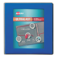 """Avery® UltraLast View Binder w/1-Touch Slant Rings, 11 x 8 1/2, 1 1/2"""" Cap, Blue AVE79712"""