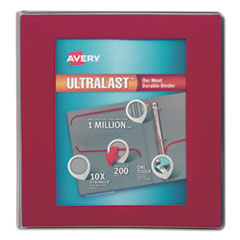 """Avery® UltraLast View Binder w/1-Touch Slant Rings, 11 x 8 1/2, 1 1/2"""" Cap, Red AVE79713"""