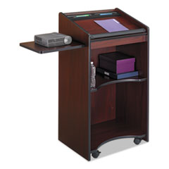 Executive Mobile Lectern, 25-1/4w x 19-3/4d x 46h, Mahogany